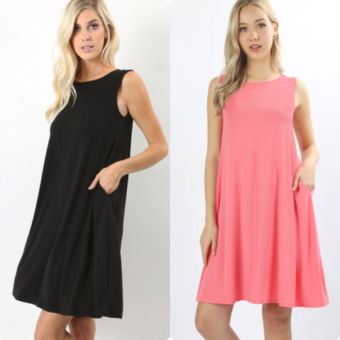 Solid Sleeveless Dress (2 Colors)