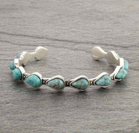 Turquoise Natural Stone C Cuff Bracelet