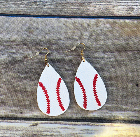 Leather Baseball Earrings