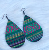 Green Serape Teardrop Earrings