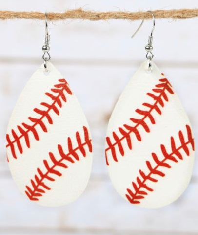 Take Me Out To The Ball Game Leather Earrings
