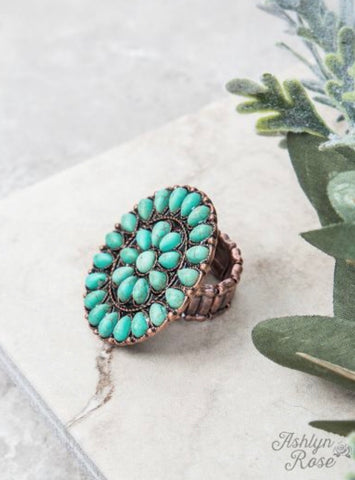 Turquoise Flower Stone Stretch Ring