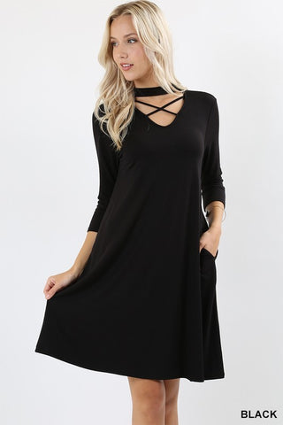 Black Choker Criss Cross Dress