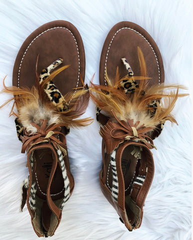 Feather & Leopard Sandals (Size 8 Only)