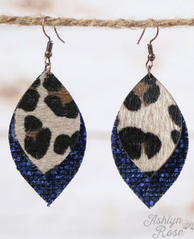 Blue Glitter Leather Leopard Earrings