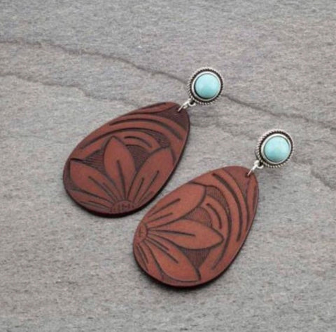 Genuine Leather Teardrop Earrings With Natural Stone