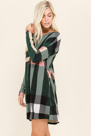 Hunter Green Plaid Dress