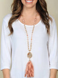 Beauty & Grace Fabric Tassel Necklace