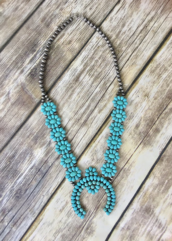 DEAL OF THE DAY Turquoise Floral Squash Blossom Necklace