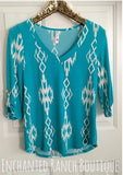 Turquoise Aztec V Neck Top