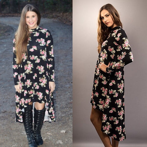 Floral High Low Mock Neck Dress