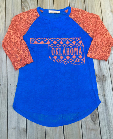 Blue & Orange Oklahoma Pride Burnout Tee