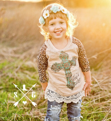 Kids God Is Love Cross Top With Leopard Sleeve