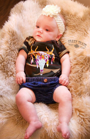 Buck Feathers & Flowers Baby Onesie