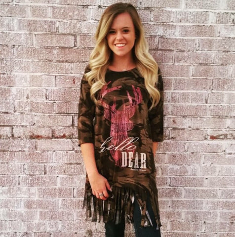 Hello Dear Camo Fringe Top