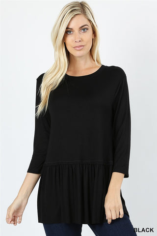 Ruffle Bottom Tunic (2 Colors)