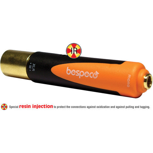 "Bespeco XLR Male to 1/4"" Mono Jack Female Adapter (Black/Orange)"