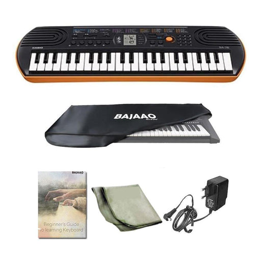 Casio SA76 44 Key Mini Portable Keyboard With Adapter, Polishing Cloth, Dust Cover, Online Lessons, Warranty & Ebook