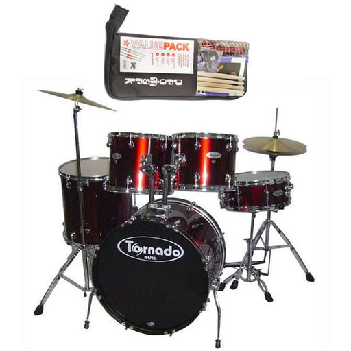 Mapex Tornado 5-Piece Drum Kit With Hardware, Throne, Cymbals and Promark Value Pack- Wine Red