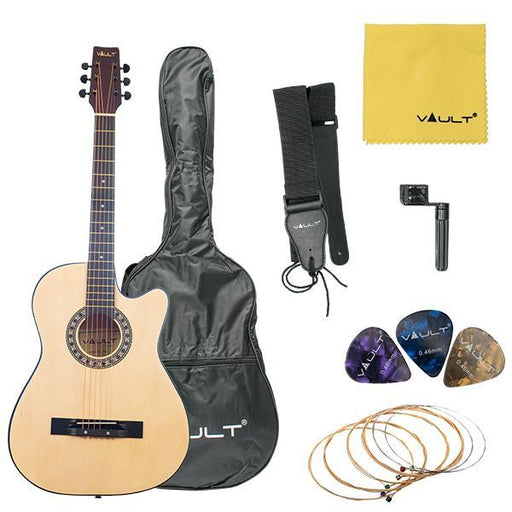 Vault 38C 38 inch Cutaway Acoustic Guitar with Picks, Bag, Strings, Strap and String winder - Open Box