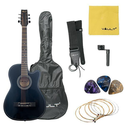 Acoustic Guitar for Beginners by Vault Model 38C - Black - Open Box