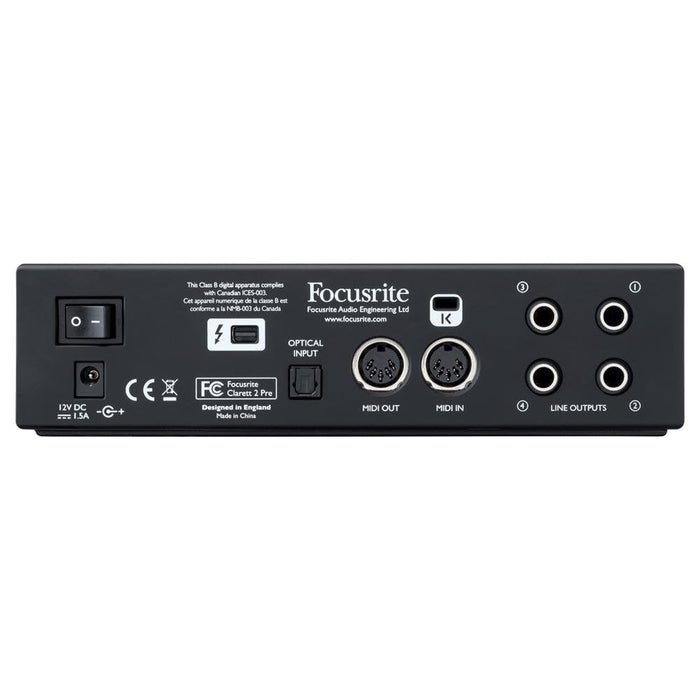 Focusrite Clarett 2Pre 10-In, 4-Out Thunderbolt Audio Interface-3