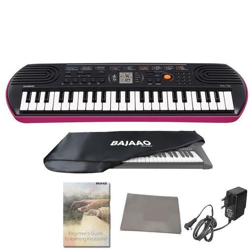 Casio SA78 Mini Portable Keyboard With Adapter, Polishing Cloth, Dust Cover, Online Lessons, Warranty & Ebook