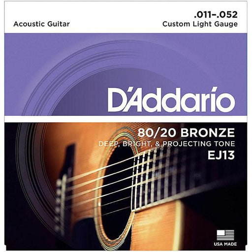 D'Addario EJ13 80/20 Bronze Custom Light Acoustic Guitar Strings