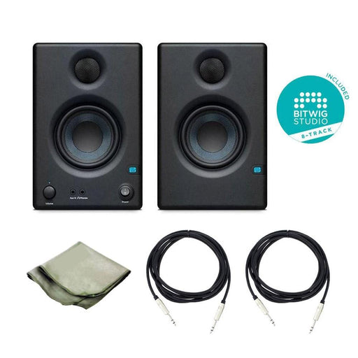 Presonus Eris E3.5 Active Studio Monitors - Pair With Polishing Cloth, 2x TRS Cables & Bitwig Software