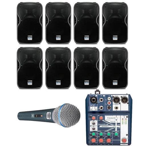 Restaurant Sound System with 8xAlto TS110A Wall Mount Loudspeakers, Mic & Soundcraft Mixer