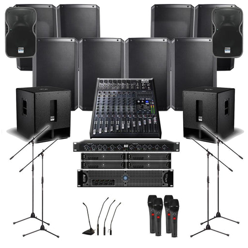 Church Sound System 8xAlto TS315 Wall Mount Loudspeakers, 2xSubwoofer, 5xAmplifier, Crossover, Monitor, Mics, Stands & Mixer