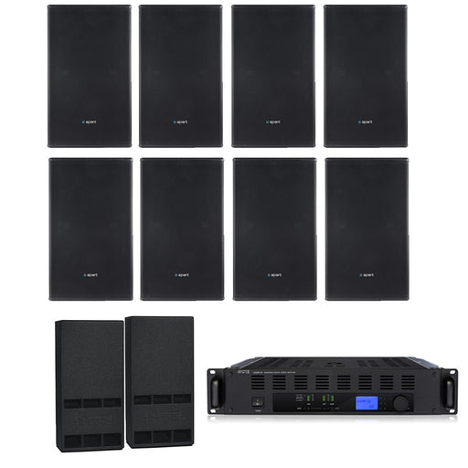 Gym Sound System with 8xMASK 12 CT Wall Mount Loudspeakers, 2xSubwoofer, & Champ 3D Power Amp