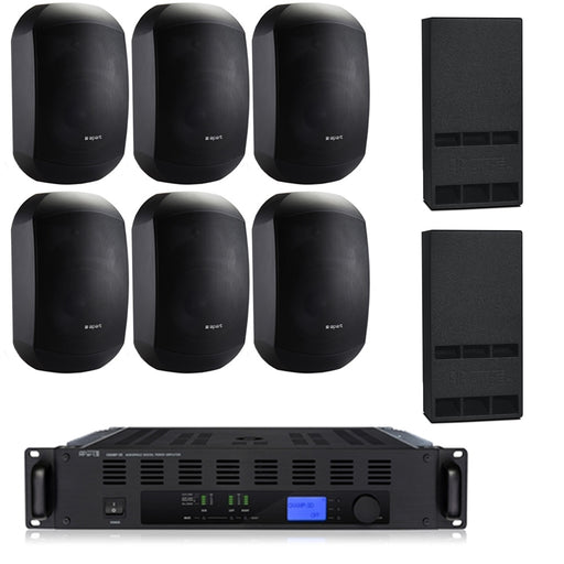 Auditorium Sound System with Apart 6xMASK 6-CT Wall Mount Loudspeakers, 2xSubwoofer & Champ 3D Power Amp