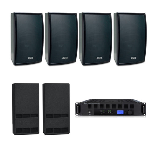 Gym Sound System with 4xApart MASK 8 Wall Mount Loudspeakers, 2xSubwoofer & Champ 3D Power Amp