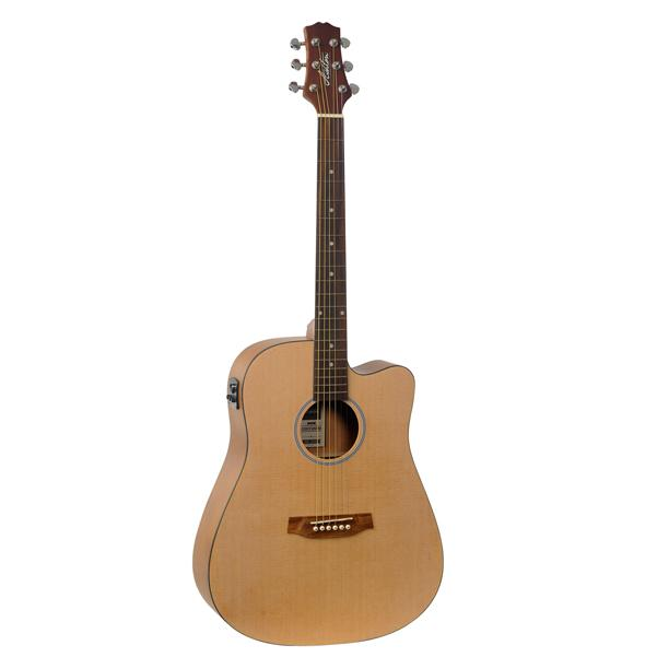 Ashton D20CEQ NTM Dreadnought Cutaway Electro Acoustic Guitar with Bag - Natural Matte