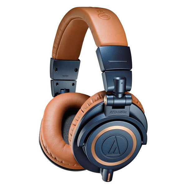 Audio-Technica ATH-M50x Closed-Back Professional Dynamic Studio Monitor Headphones - Limited Edition Blue with Tan Headband and Earpads.