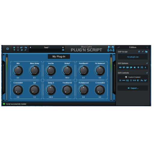 Blue Cat Audio Plug N Script Tool for Creating FX VST Downloadable Software & Plug-in