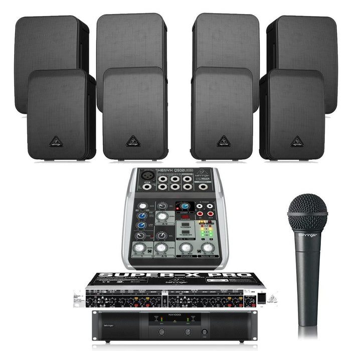 Restaurant Sound System with 8xBehringer 1C Wall Mount Loudspeakers,  Amplifier, Crossover, Mic & Mixer