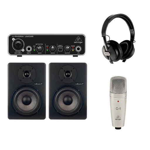 Behringer Artist Recording Starter Pack with Microphone, Audio Interface, Monitors & Headphones