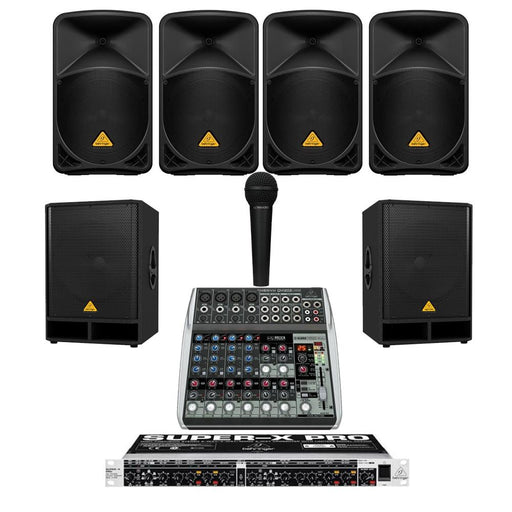 Restaurant Sound System with 4xBehringer B 112D Wall Mount Loudspeakers, 2xSubwoofer, Crossover, Mic & Mixer