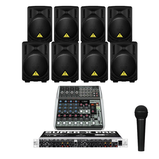 Restaurant Sound System with 8xBehringer B 208D Wall Mount Loudspeakers ,Crossover, Mic & Mixer