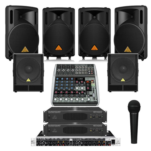 Restaurant Sound System with 4xBehringer B 212XL Wall Mount Loudspeakers, 2xSubwoofer, 2xAmplifier, Crossover, Mic & Mixer