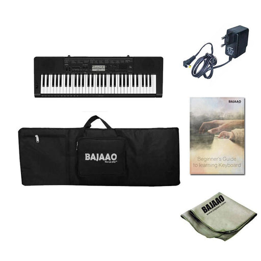 Casio CTK-3500 61 Key Portable Keyboard With Power Adapter, Gigbag, Cloth & Ebook