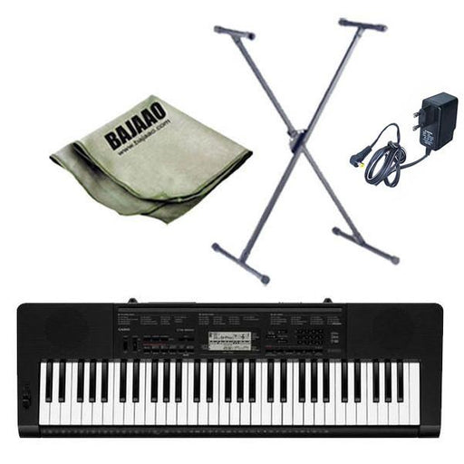 Casio CTK-3200 61-Key Portable Keyboard with Stand, Polishing Cloth and Power Adapter