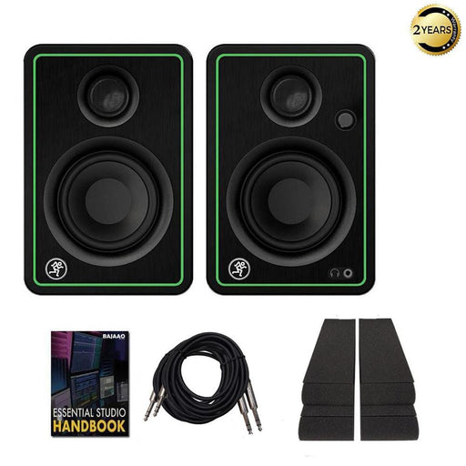 Mackie CR3X 3 Inch Reference Studio Multimedia Monitors with Isolation Foam Pad, Cables & Ebook - Pair