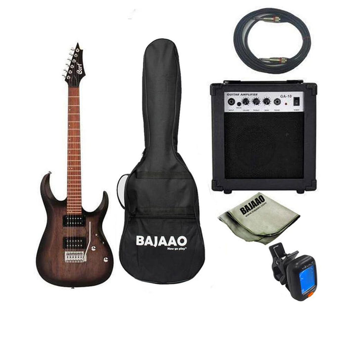 Cort X100 6-String Electric Guitar Bundle with Amplfier, Tuner, Cable and Polishing Cloth