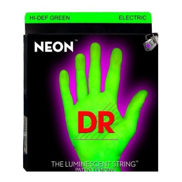 DR Strings NGE-10 NEON HiDef Green SuperStrings Medium Electric Guitar Strings