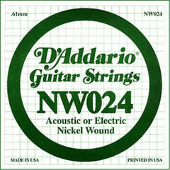 D'Addario NW024 Nickel Wound Electric Guitar Single String set of 3