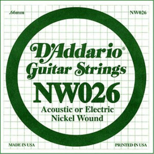 D'Addario NW026 Nickel Wound Electric Guitar Single String .026 Set of 3