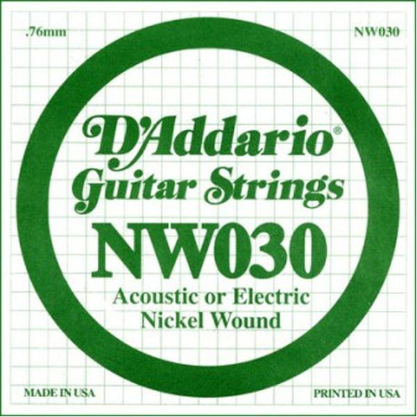 D'Addario NW030 Nickel Wound Electric Guitar Single String .030 Set of 3